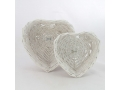 Rattan tray heart - set of 2 pcs